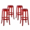 Set Of 4, Casper Modern Acrylic Bar Stool With Foot Ring, Red