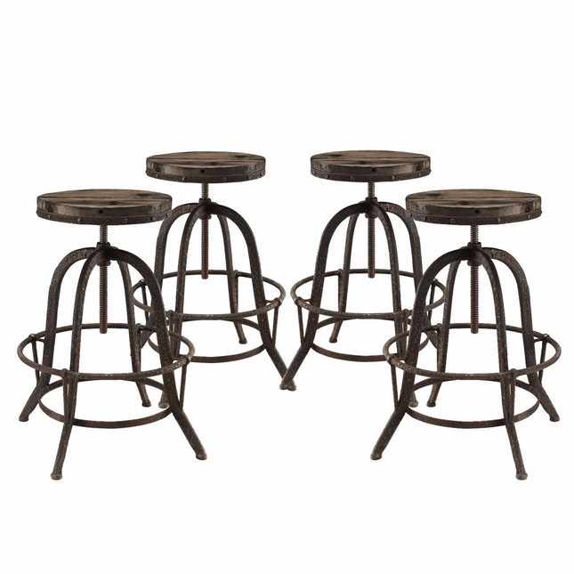 Set Of 4, Collect Industrial Bar Stool w/ Wood Seat & Cast Iron Frame, Brown