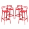 Set Of 4, Entangled Modern Shapely Molded Plastic Bar Stool, Red