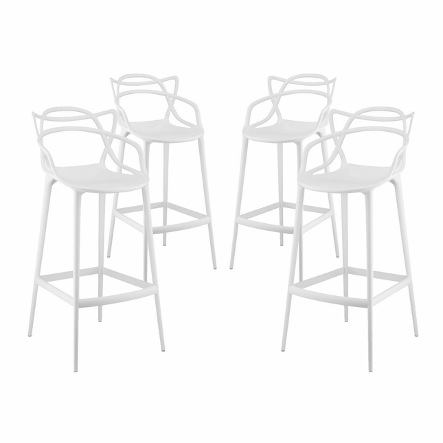 Set Of 4, Entangled Modern Shapely Molded Plastic Bar Stool, White