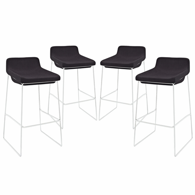 Set Of 4, Garner Contemporary Upholstered Bar Stool With Chrome Frame, Black