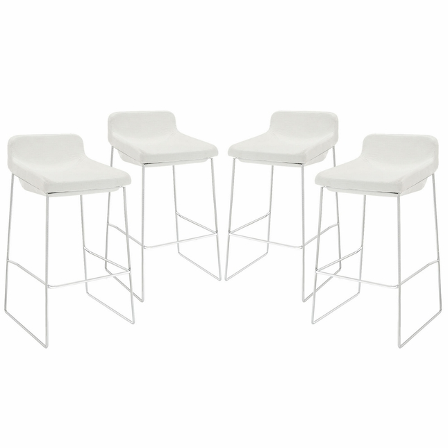 Set Of 4, Garner Contemporary Upholstered Bar Stool With Chrome Frame, White