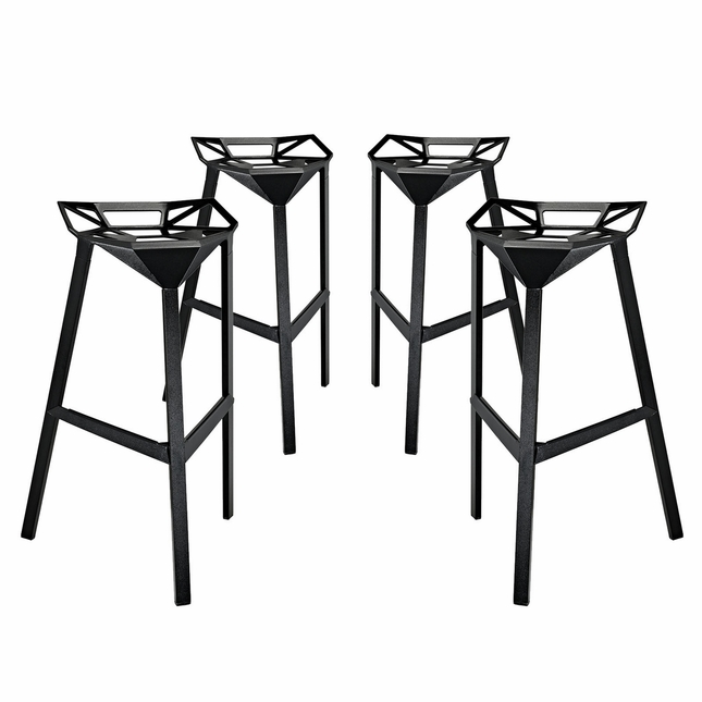 Set Of 4, Launch Geometrical Stacking Bar Stool w/ Coated Aluminum Frame, Black
