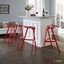 Set Of 4, Launch Geometrical Stacking Bar Stool w/ Coated Aluminum Frame, Red