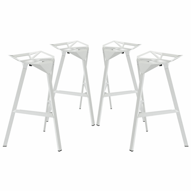 Set Of 4, Launch Geometrical Stacking Bar Stool w/ Coated Aluminum Frame, White