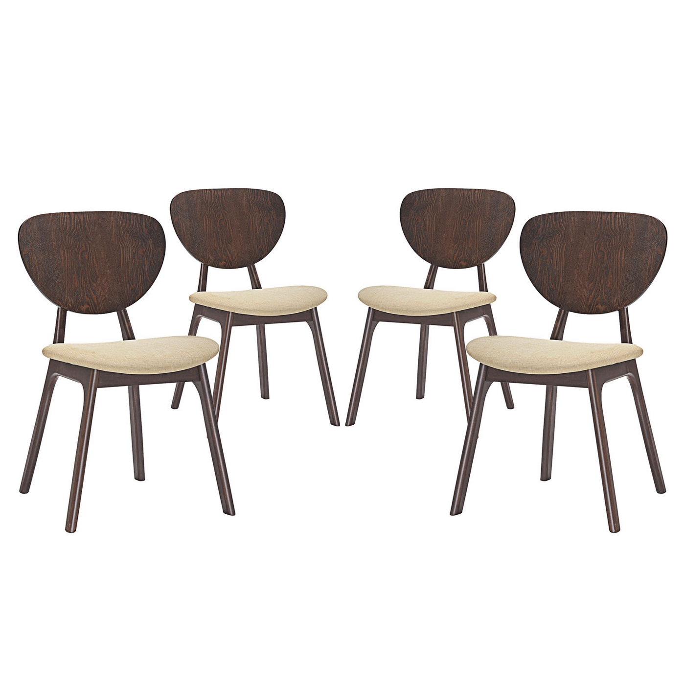 Set of 4 murmur vintage modern wooden dining side chair for Modern walnut dining chairs
