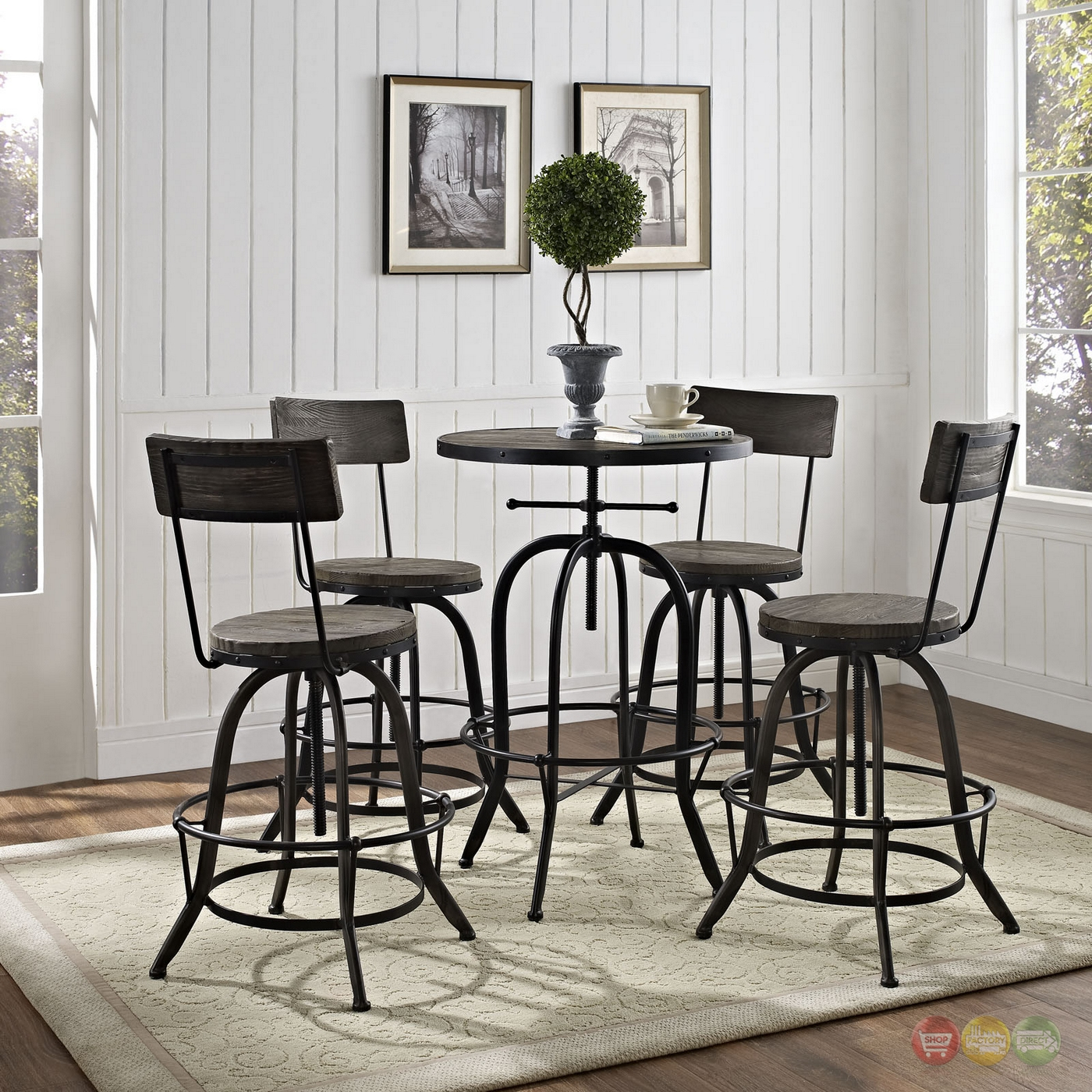 Set Of 4 Procure Industrial Bar Stool W Wood Seat Backs