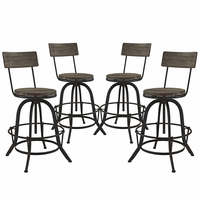 Set Of 4, Procure Industrial Bar Stool w/ Wood Seat Backs & Cast Iron Frame, Brown