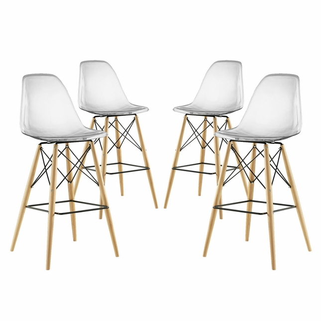 Set Of 4, Pyramid Modern Deep Seat Molded Plastic Bar Chair w/ Wood Legs, Clear
