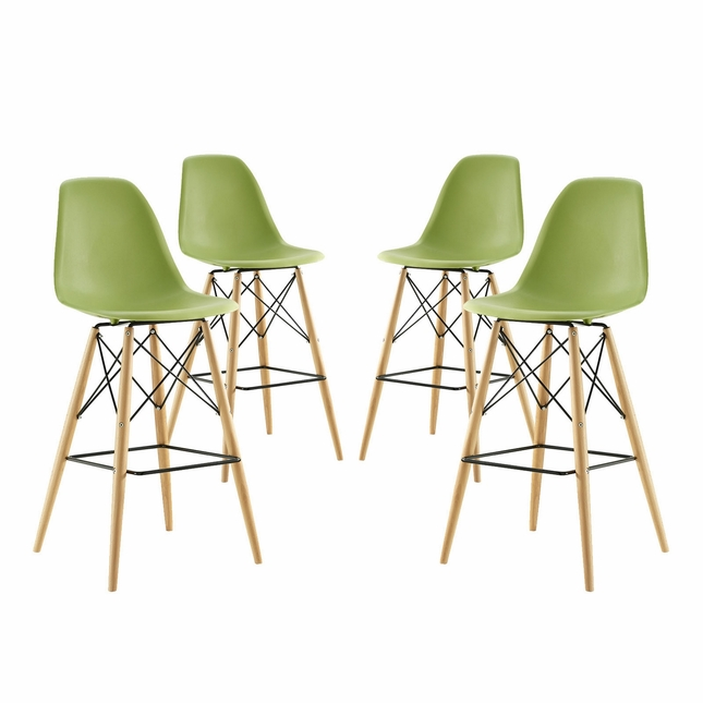 Set Of 4, Pyramid Modern Deep Seat Molded Plastic Bar Chair w/ Wood Legs, Light Green