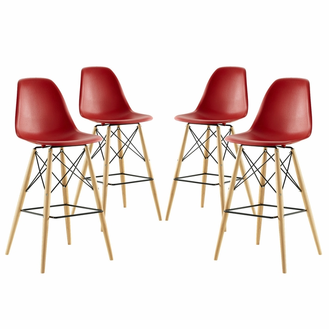Set Of 4, Pyramid Modern Deep Seat Molded Plastic Bar Chair w/ Wood Legs, Red