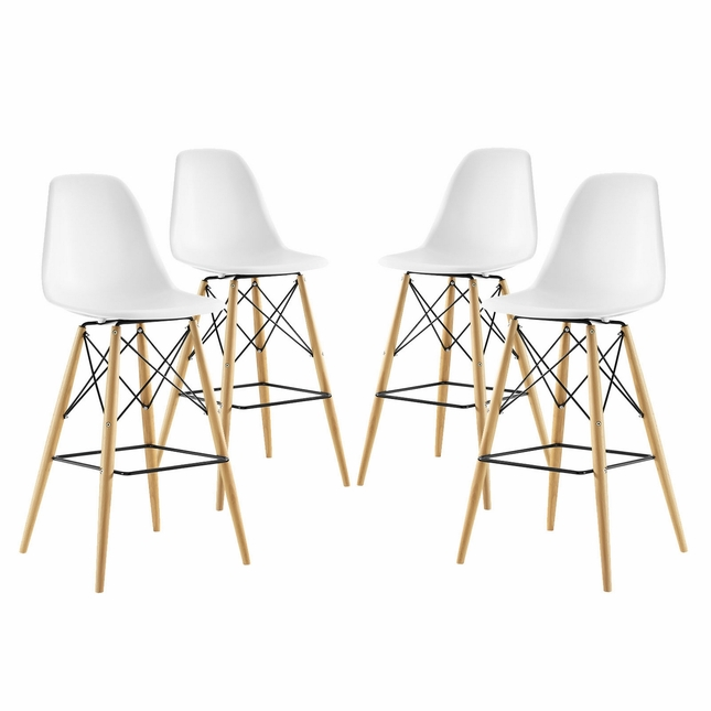 Set Of 4, Pyramid Modern Deep Seat Molded Plastic Bar Chair w/ Wood Legs, White