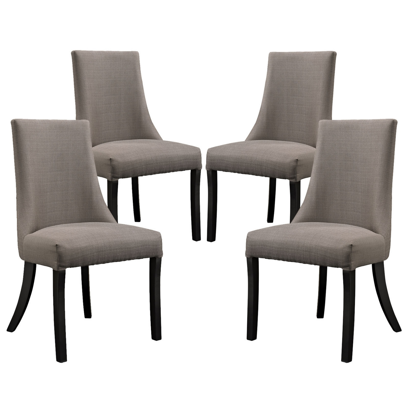 Set of reverie upholstered dining side chair with wood