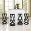 Set Of 4, Ribbon Contemporary Bar Stool In Coated Steel Finish, Black