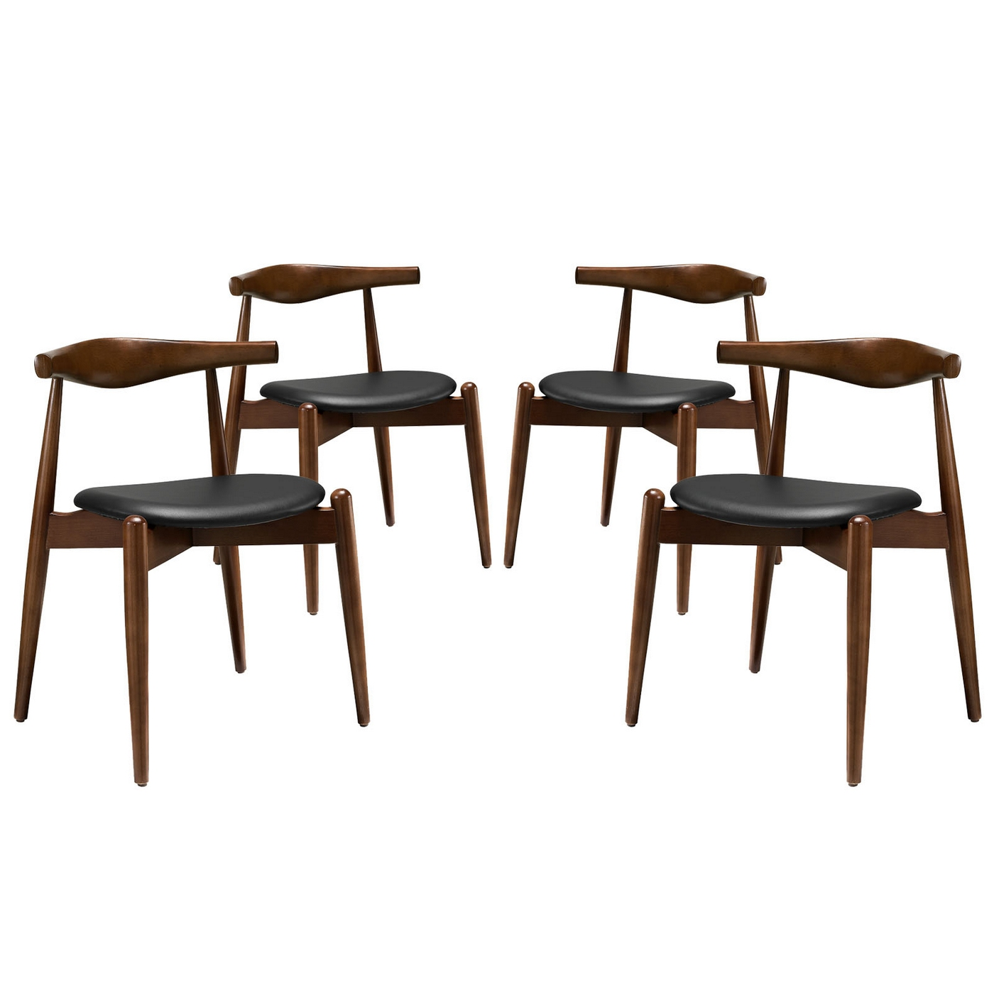 Set of 4 stalwart contemporary wood dining side chairs w for Upholstered dining chairs contemporary