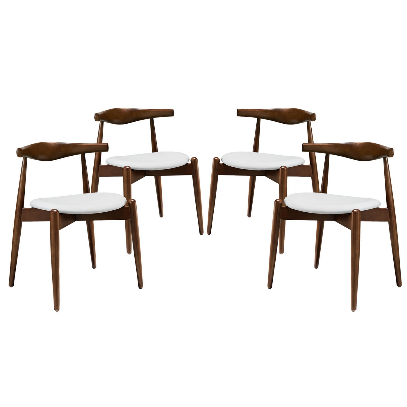 Set of 4 stalwart contemporary wood dining side chairs w for White wood upholstered dining chairs