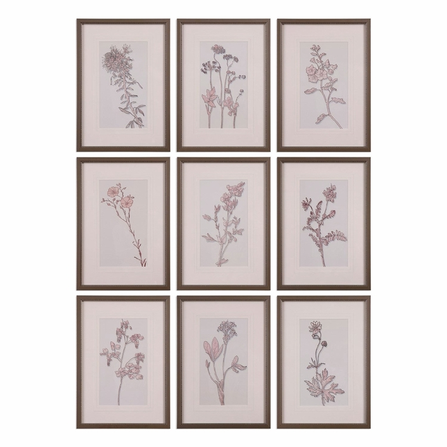 "Set Of 9, Country Style Spring Delights Floral Wall Art In Pewter Frame, 17""x24"""