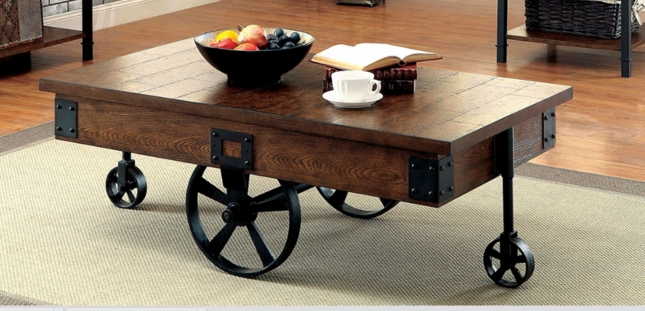 Seth rustic plank wood top coffee table with black metal for Wood plank top coffee table