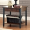 Seth Rustic Storage Wood end Table with Black Metal Accents