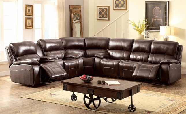 Seth Transitional Brown Reclining Sectional Sofa In Top Grain Leather