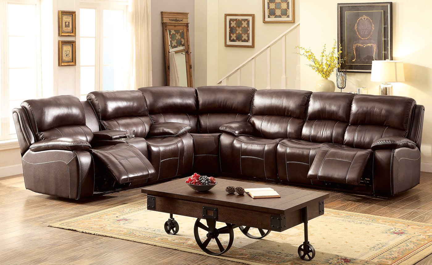 Seth Transitional Brown Reclining Sectional Sofa In Top