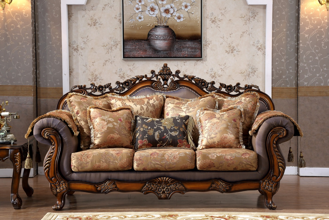 Seville Golden Beige Sofa With Cherry Finished Floral Wood