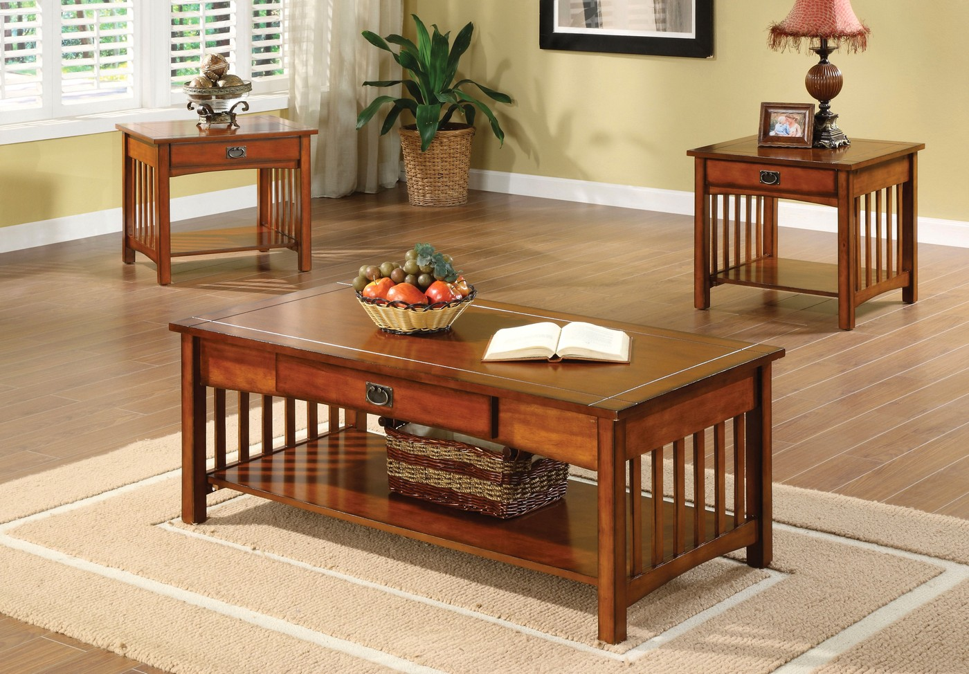 Seville mission antique oak accent tables with drawer and - Antique side tables for living room ...