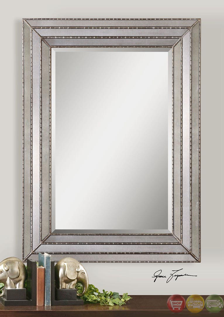Seymour Stepped Frame Antiqued Silver Mirror 14465
