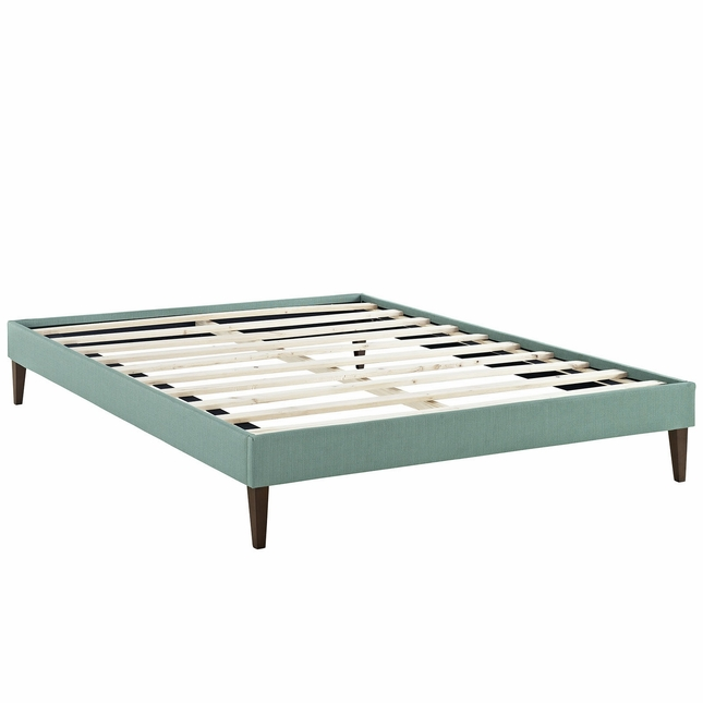 Sharon Modern King Fabric Platform Bed Frame With Square Legs, Laguna