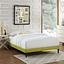 Sharon Modern King Fabric Platform Bed Frame With Square Legs, Wheatgrass