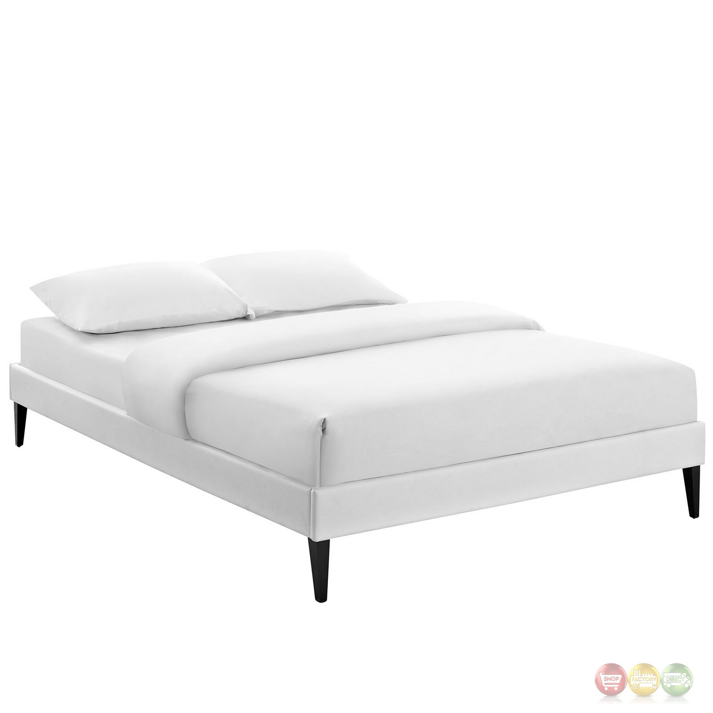 Sharon Modern King Vinyl Platform Bed Frame With Square