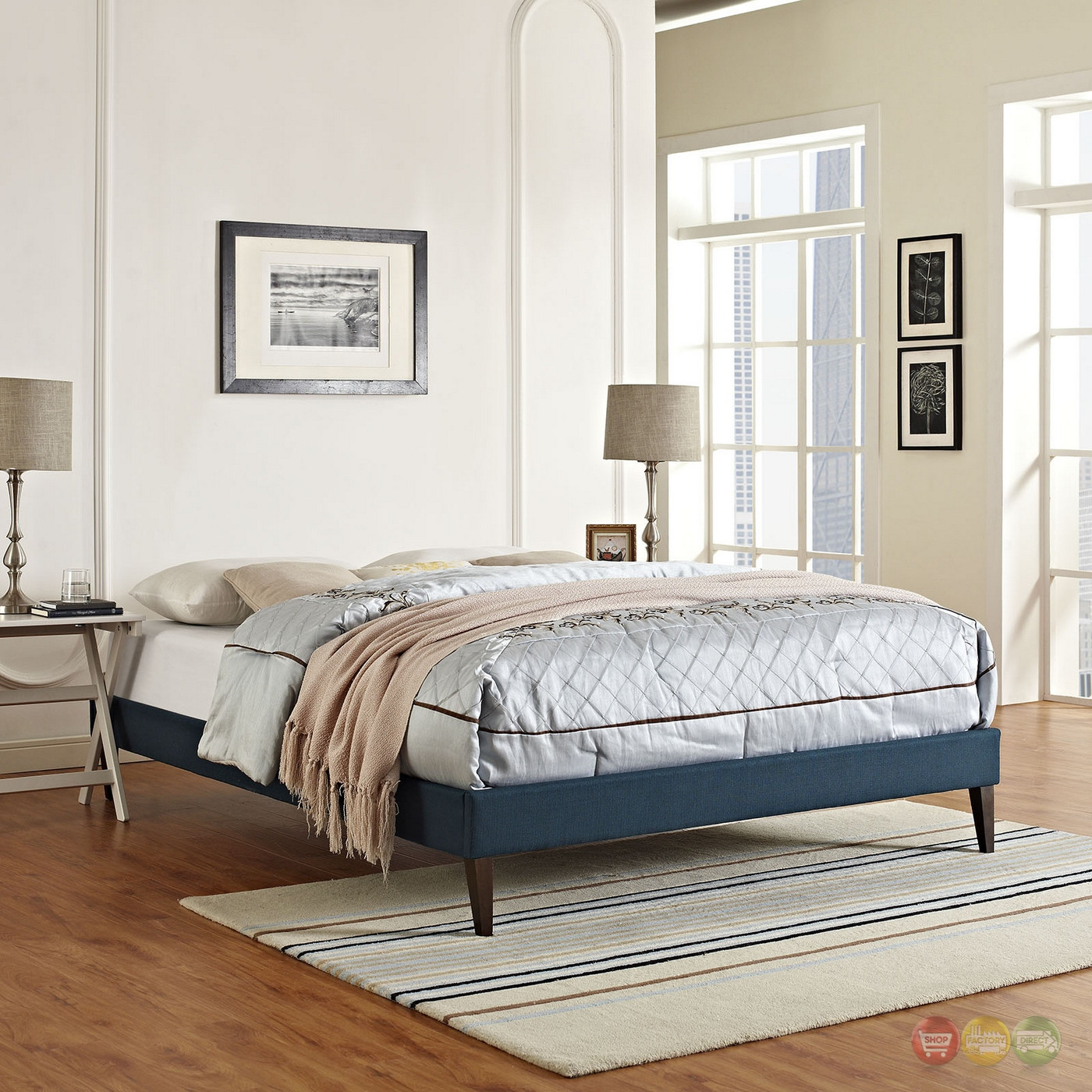 Sharon Modern Queen Fabric Platform Bed Frame With Square ...