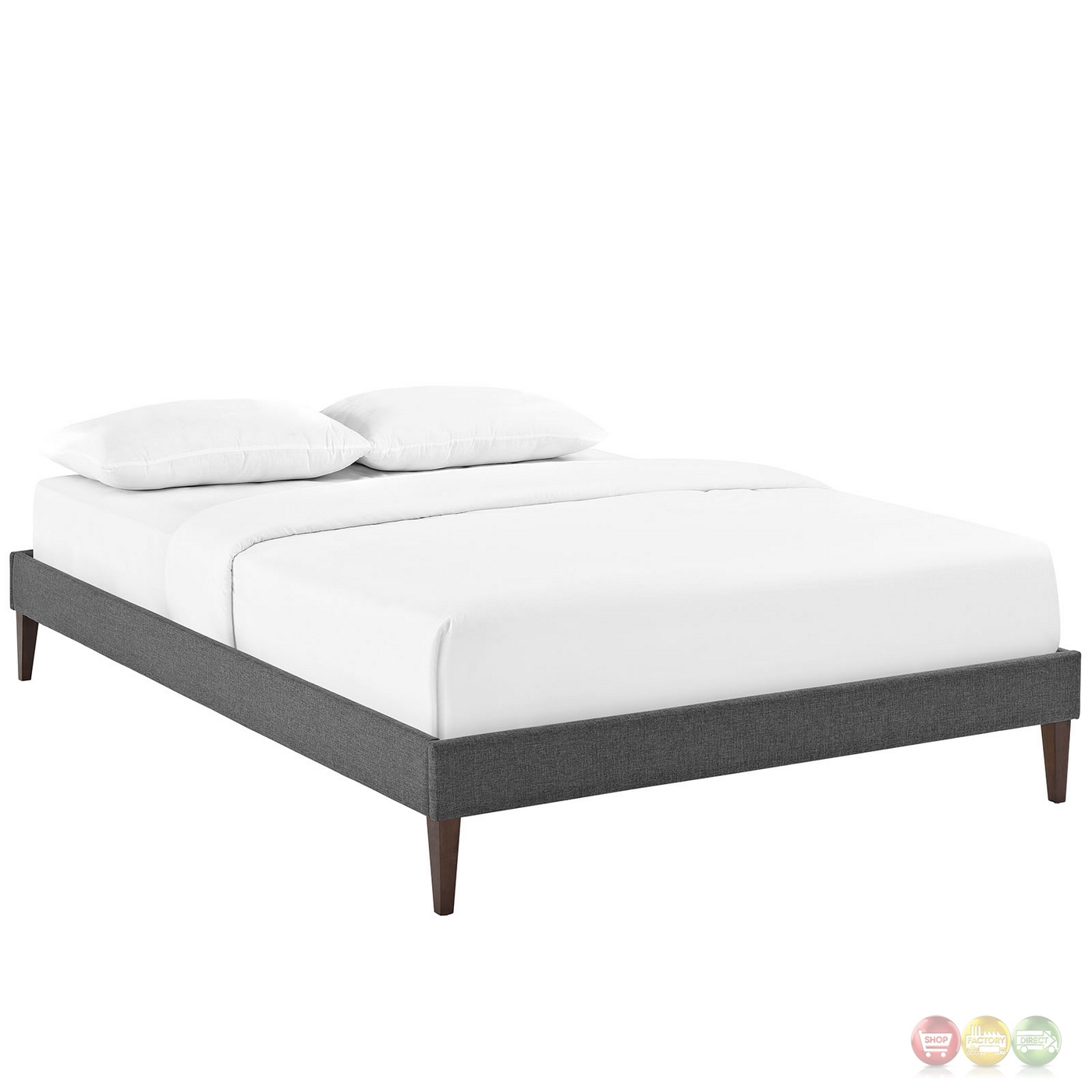 Sharon Modern Queen Fabric Platform Bed Frame With Square