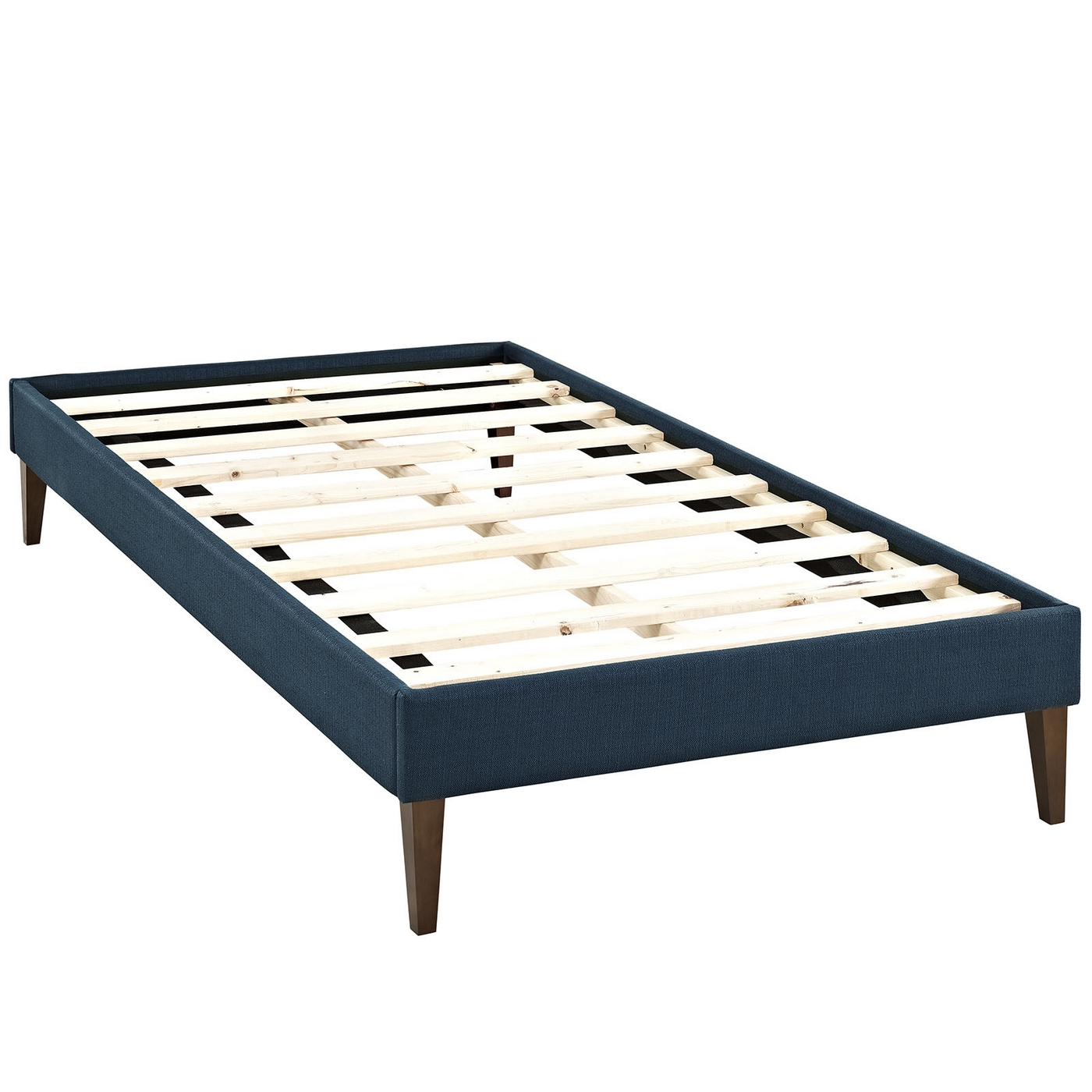 Sharon modern twin fabric platform bed frame with square for Twin bed frame