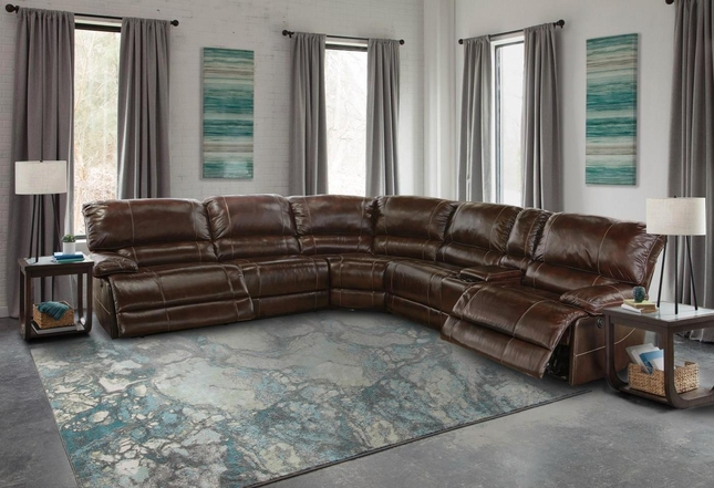 Shaw Havana Genuine Leather Contemporary Power Reclining L-Shaped Sectional Sofa