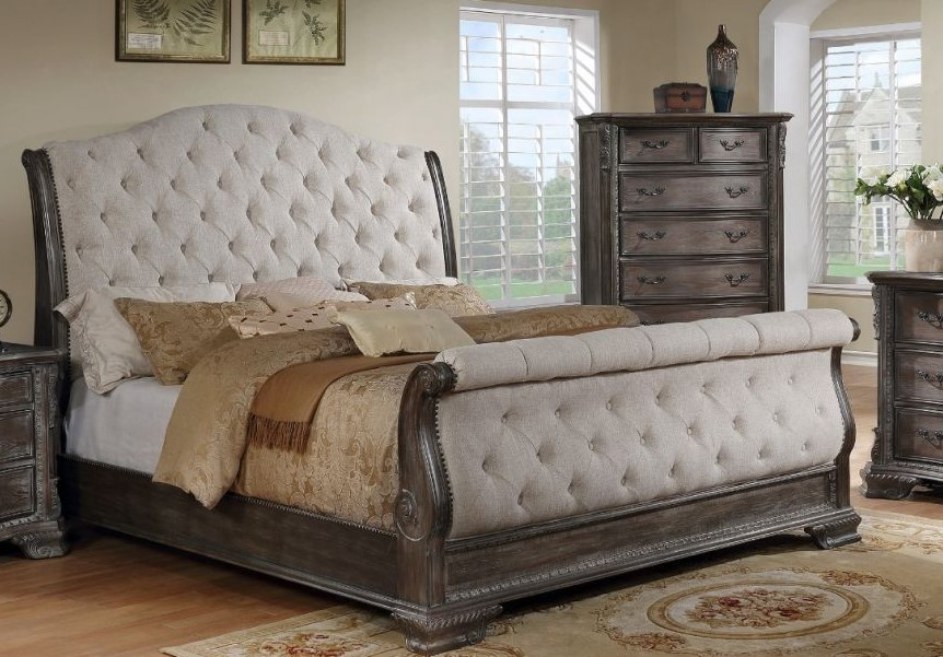 Aveline Traditional Button Tufted Sleigh King Bed In A
