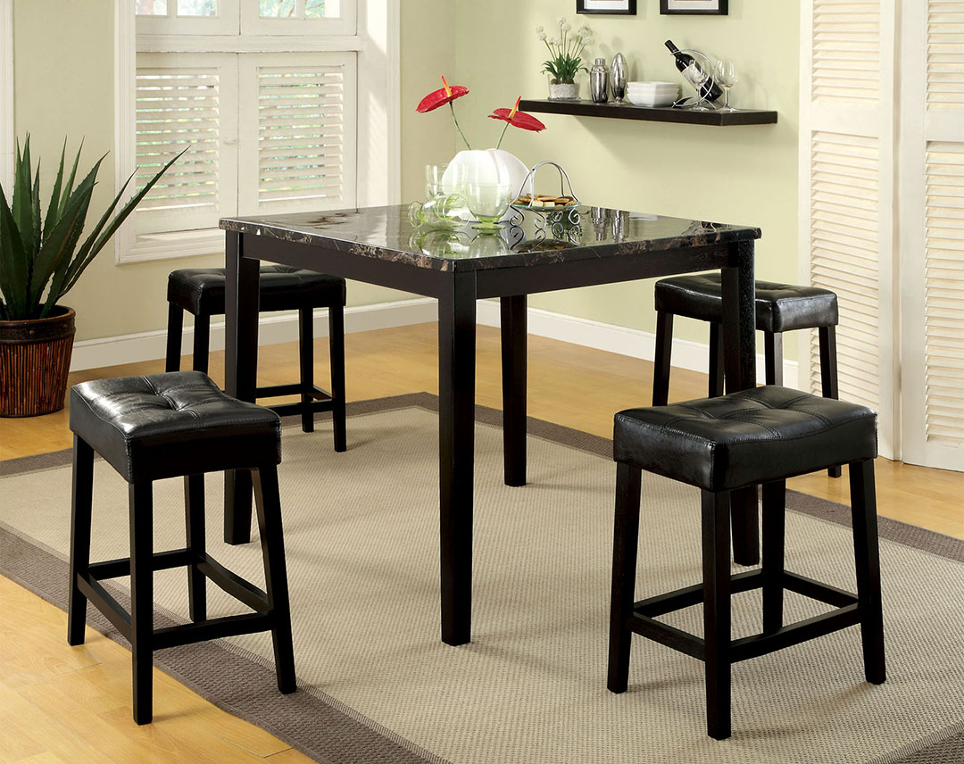 Shelby Contemporary Black Counter Height Dining Set With