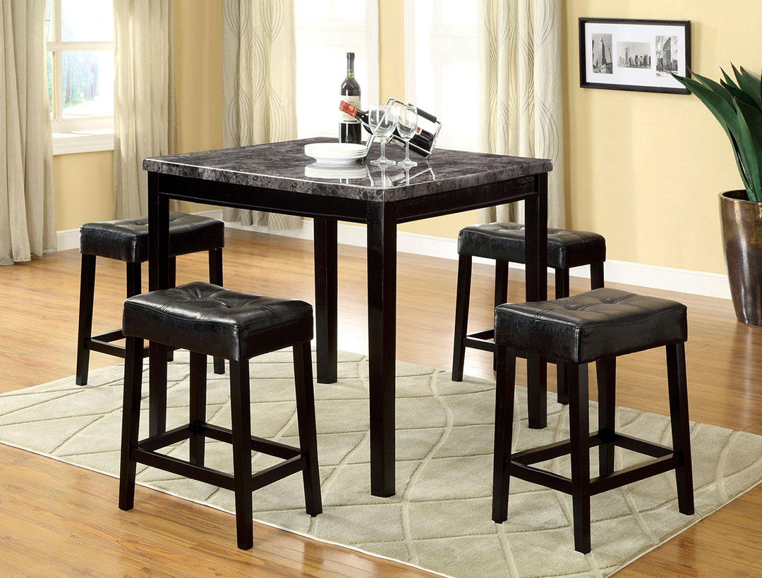 Shelby contemporary black counter height dining set with for Black dining set