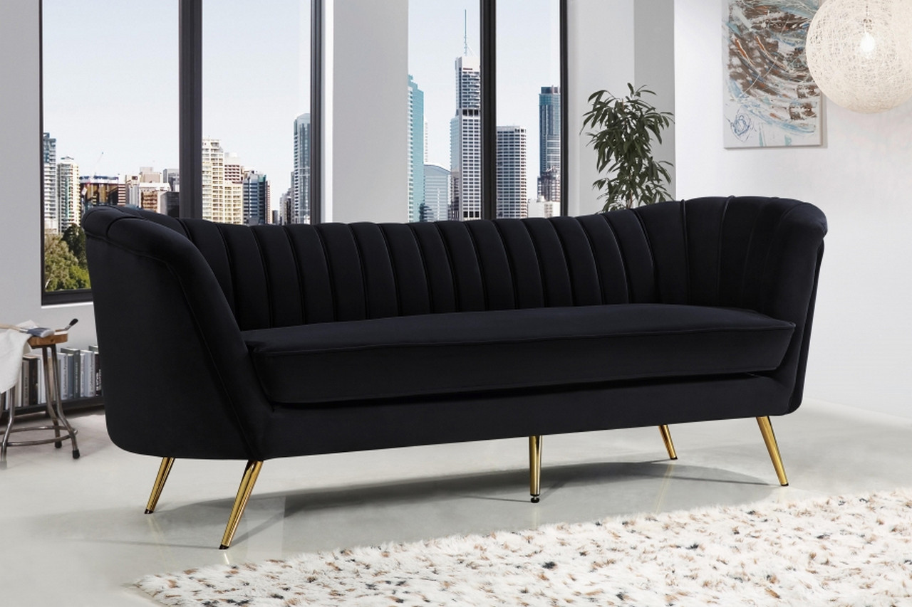 Shelby Scoop Back Channel Tufted Black Velvet Sofa Set W