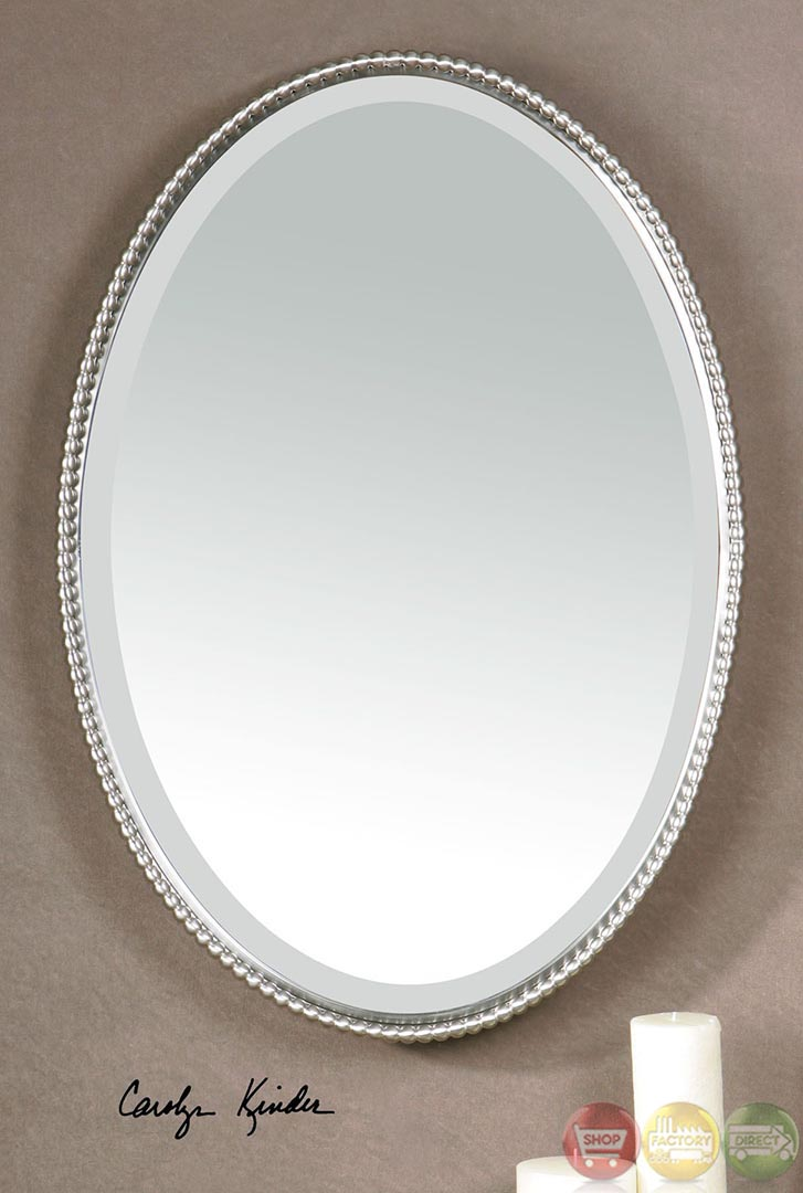Sherise modern brushed nickel oval mirror 01102 b for Bathroom mirrors brushed nickel