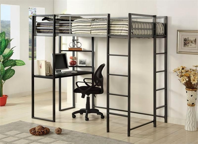 Sherman Contemporary Silver and Gun Metal Twin Bed with Workstation