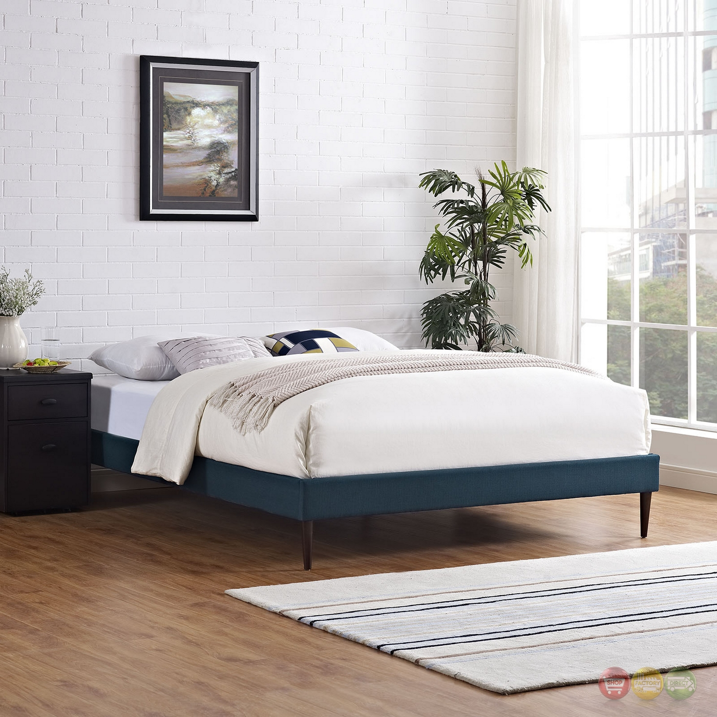 Sherry upholstered fabric full platform bed frame azure for Upholstered platform bed frame