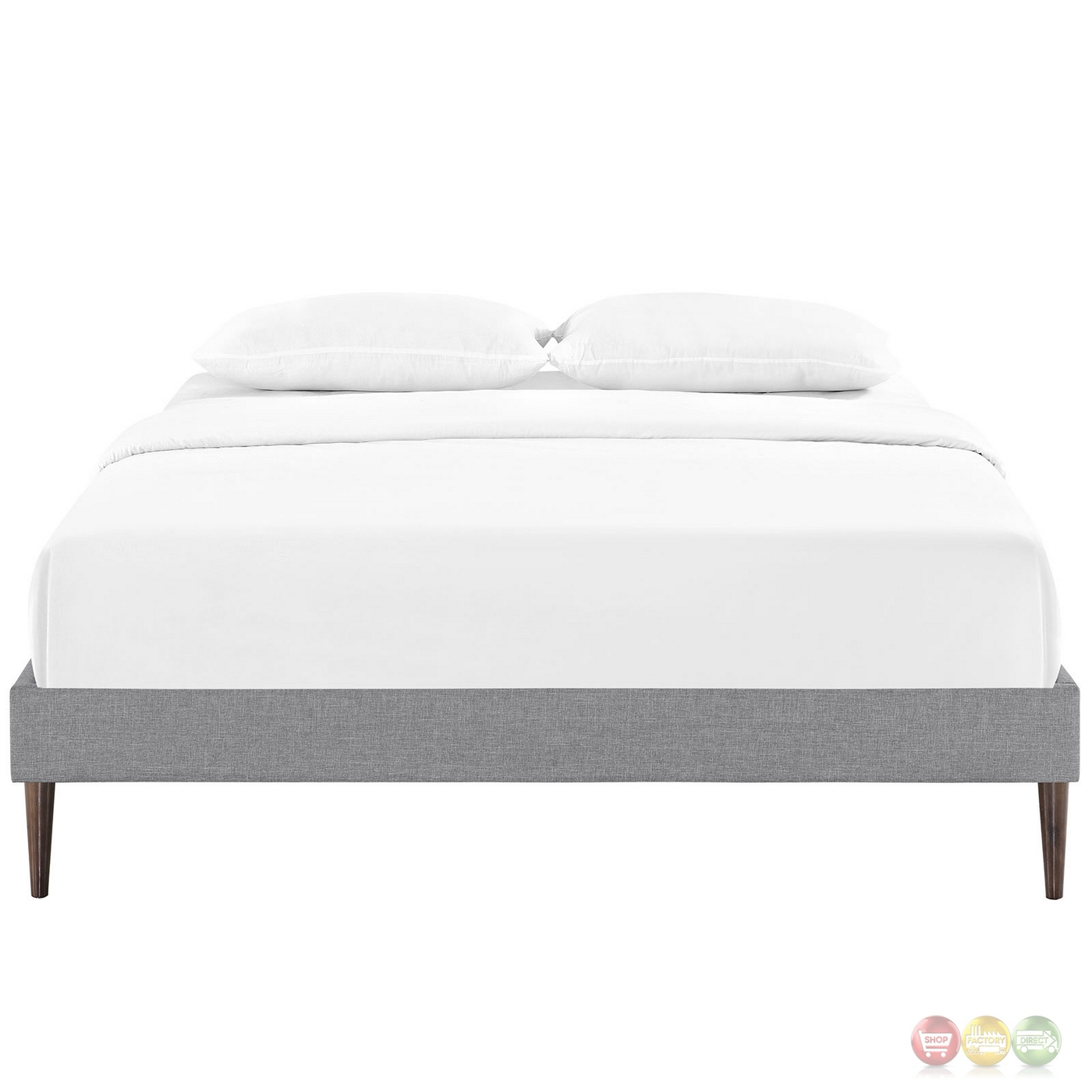 Sherry upholstered fabric full platform bed frame light gray for Upholstered platform bed frame