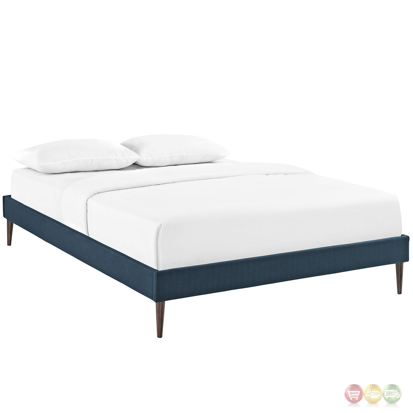 Sherry upholstered fabric king platform bed frame azure Platform king bed