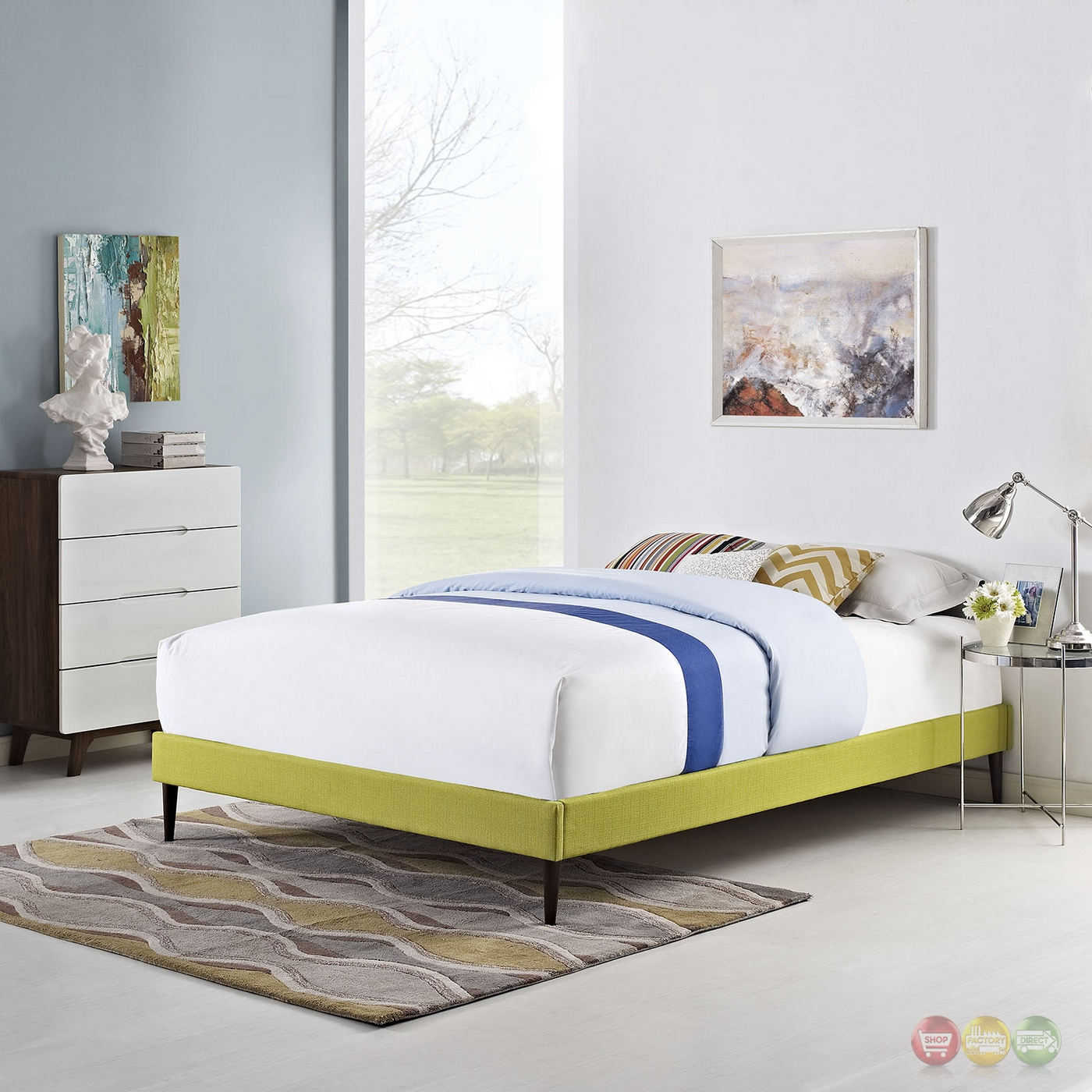 Sherry upholstered fabric king platform bed frame wheatgrass for Upholstered platform bed frame