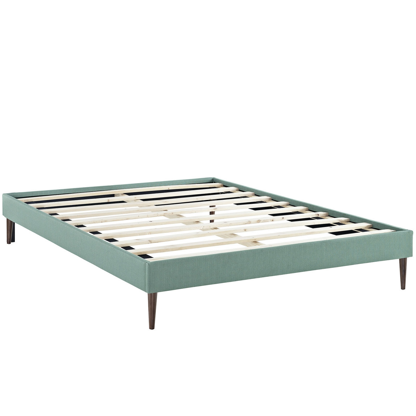 Sherry upholstered fabric queen platform bed frame laguna for Upholstered platform bed frame
