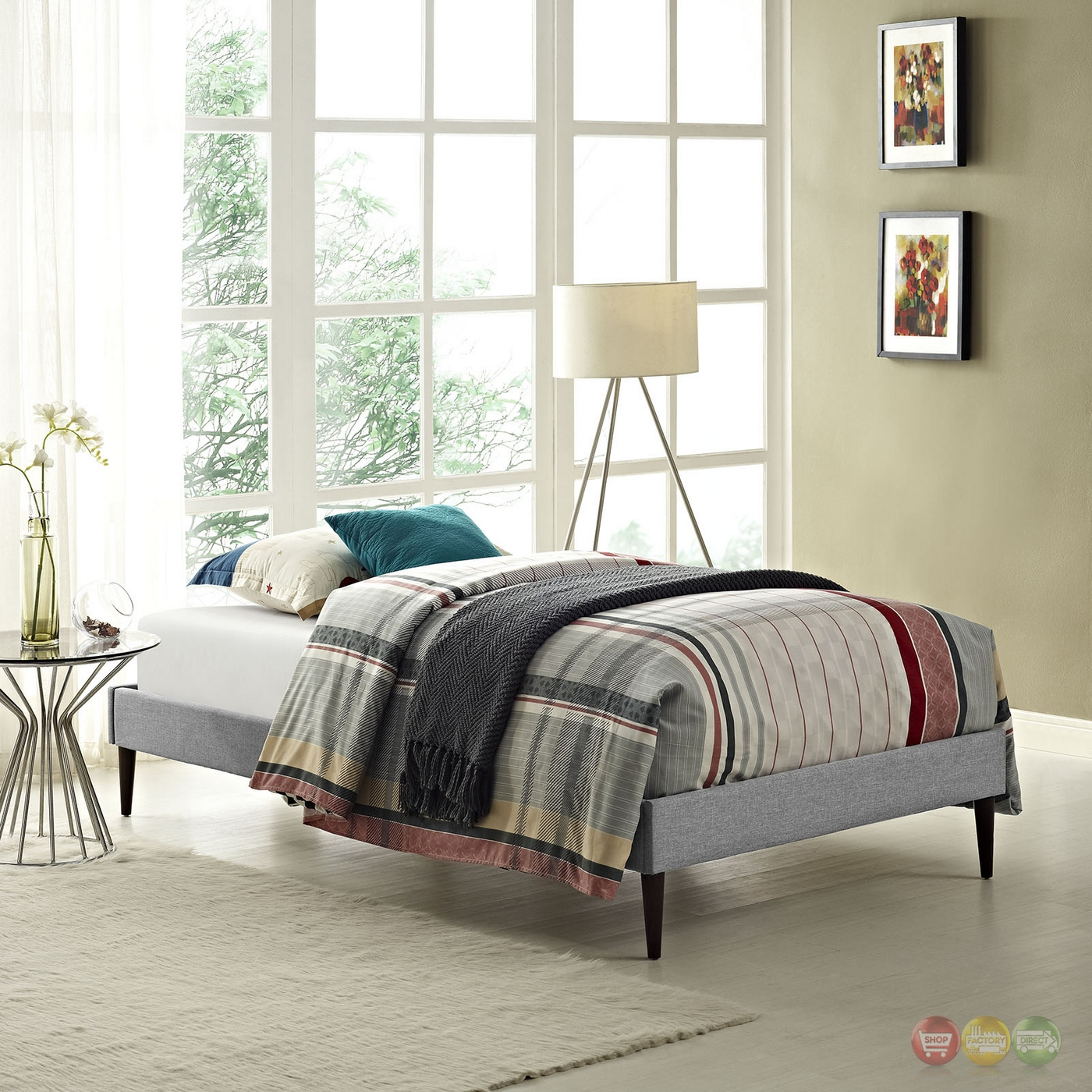 Sherry Upholstered Fabric Twin Platform Bed Frame Light Gray