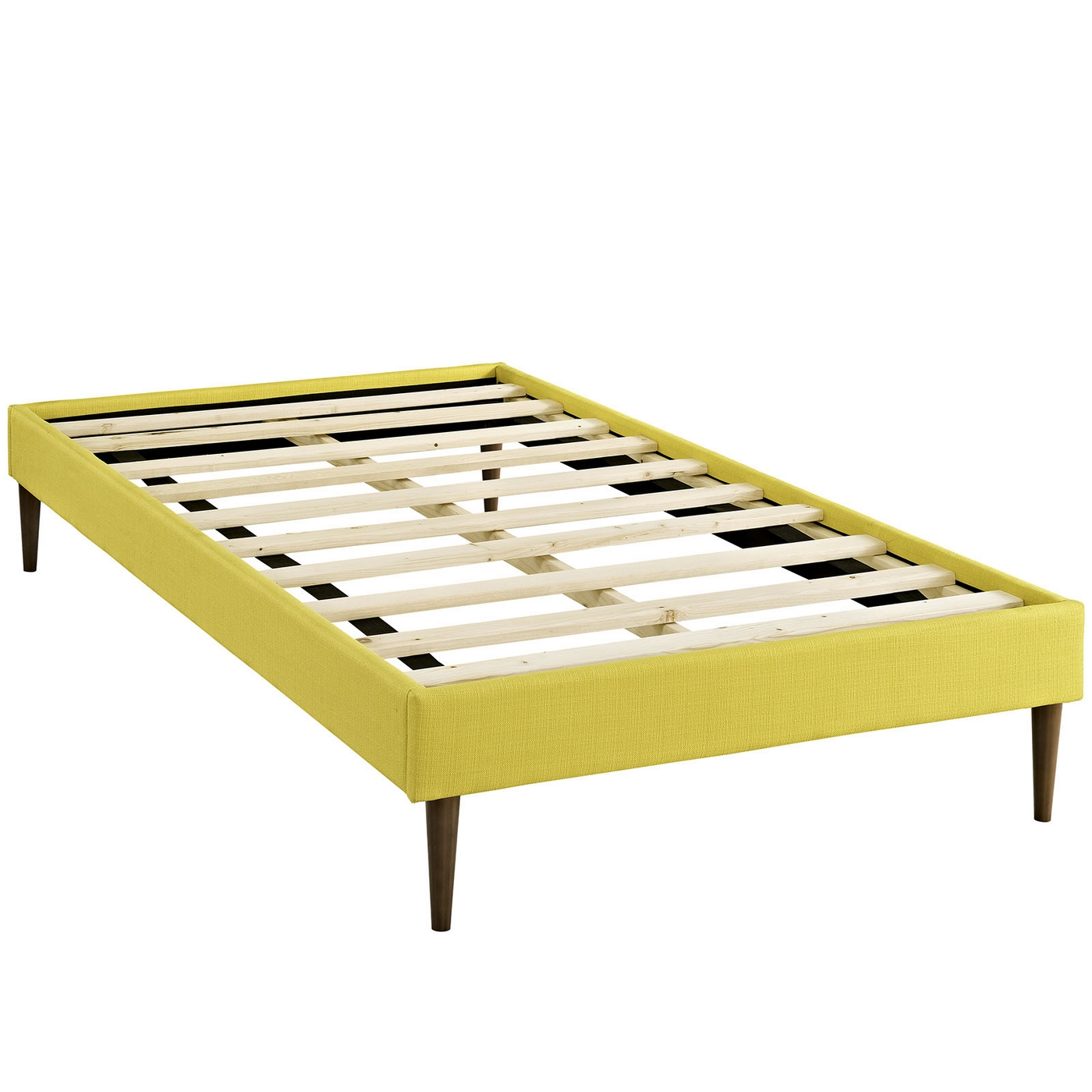 Sherry upholstered fabric twin platform bed frame sunny for Upholstered platform bed frame