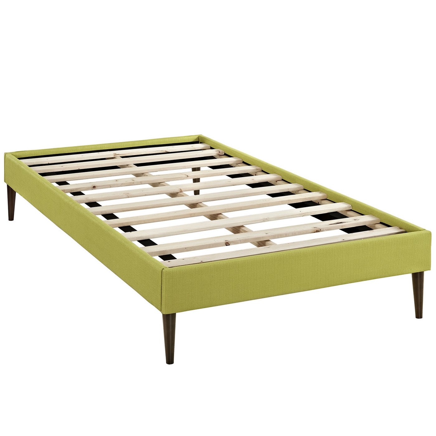 Sherry upholstered fabric twin platform bed frame wheatgrass for Upholstered platform bed frame