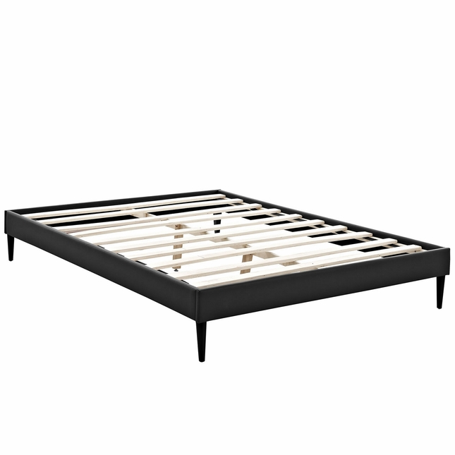 Sherry Upholstered Vinyl Leather King Platform Bed Frame, Black